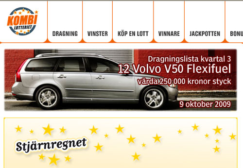 Kombilotteriet, vinst, Volvo V50, the Secret, kurs